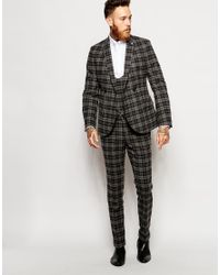 Noose And Monkey - Black Wool Check Suit Trousers In Skinny Fit for Men - Lyst