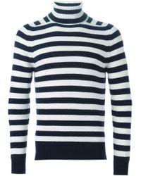 Saint Laurent - White Striped Roll Neck Sweater for Men - Lyst