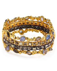 Alexis Bittar Multicolor Swarovski Crystal Accented Semiprecious Multistone Bangle Bracelet