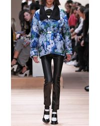 Carven - Blue Jacquard Matelasse Coat With Black Collar - Lyst