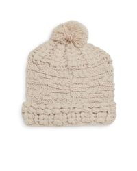 Saks Fifth Avenue | Natural Mixed Knit Pom Pom Beanie | Lyst