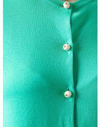Boutique Moschino Blue Pearl-Button Cotton Cardigan