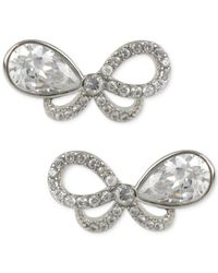 Betsey Johnson - Metallic Betsy Johnson Silver-tone Pavé Crystal Bow Stud Earrings - Lyst