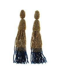 Oscar de la Renta - Metallic Classic Long Ombre Tassel Earrings - Lyst