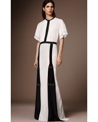 Burberry - White Cape Sleeve Silk Gown - Lyst