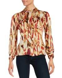 Vince Camuto   Red Petite Graphic Tie-front Blouse   Lyst