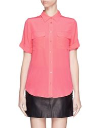 Equipment | Pink 'slim Signature' Short Sleeve Silk Shirt | Lyst