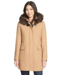 Ellen Tracy Brown Toggle Closure Hooded Duffle With Genuine Fox Fur Trim