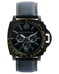 Sean John Men'S Black Strap Watch 56X49Mm 10018080 for men