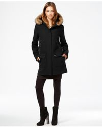 Vince Camuto | Black Faux-fur-trim Hooded Walker Coat | Lyst