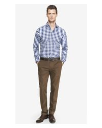 Express Brown Stretch Cotton Photographer Dress Pant for men