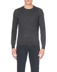 Corneliani | Gray Crew-neck Cashmere-silk Jumper for Men | Lyst
