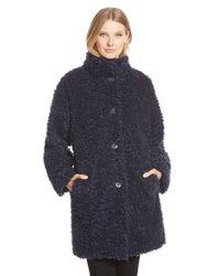 Gallery Blue 'teddy' Faux Fur Coat