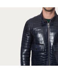 Bally Alligator Blouson Men ́s Navy Blue Alligator Jacket With Stand Collar for men