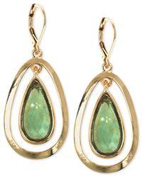 Anne Klein | Green Gold-tone Two Layer Teardrop Earrings | Lyst