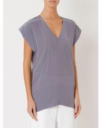 Giuliana Romanno   Blue Loose Silk Blouse   Lyst