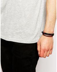 Ted Baker - Black Leather Plaited Bracelet for Men - Lyst