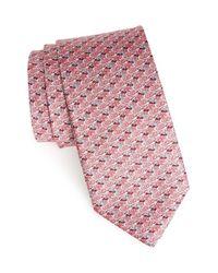 Ferragamo - Pink Mallard Duck Print Silk Tie for Men - Lyst