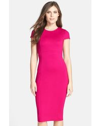Felicity & Coco | Pink Seamed Stretch-Knit Pencil Dress | Lyst