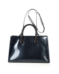 Balenciaga Blue Padlock Work Xs Leather Shoulder Bag