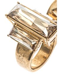 Alexander McQueen | Metallic Crystal And Knuckle-Stud Double Ring | Lyst