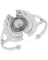 Lucky Brand | Metallic Silver-tone Freshwater Pearl Statement Cuff Bracelet | Lyst