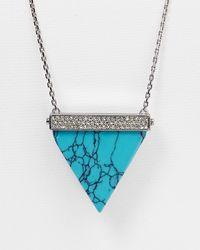 "Michael Kors - Blue Triangle Pendant Necklace, 30"" - Lyst"