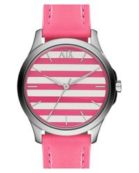 Armani Exchange - Pink Stripe Dial Leather Strap Watch - Lyst
