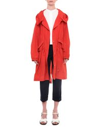 Jil Sander - Red Button-front Taffeta Rain Coat - Lyst
