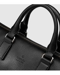Gucci | Black Leather Briefcase With Gusset for Men | Lyst