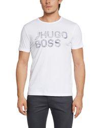 BOSS Green - White 'teeos' | Cotton Logo T-shirt for Men - Lyst