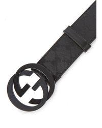 Gucci Black Monogrammed Coated Canvas Belt for men