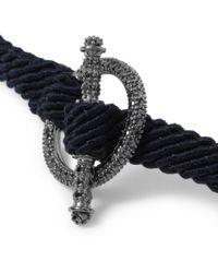 Yuvi Blue Black Diamond Silver and Woven Cord Bracelet for men