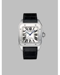 Cartier | Black Santos 100 Automatic Large Stainless Steel & Alligator Strap Watch | Lyst