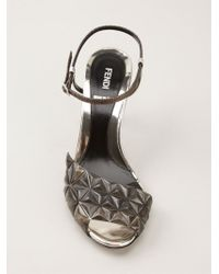 Fendi Brown Geometric Panel Sandals