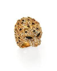 Saint Laurent | Metallic Lion Head Crystal & Enamel Ring | Lyst
