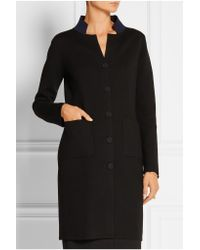 Adam Lippes Black Double-faced Stretch-wool Coat