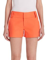 Alice + Olivia | Orange Cady Cotton Sateen Shorts | Lyst