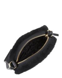 UGG Quinn Black Shearling Cross-Body Bag