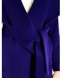 Diane von Furstenberg Purple Wool Wrap Coat