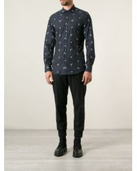 Dolce & Gabbana Gray Floral Embroidered Check Shirt for men