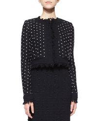 Oscar de la Renta Black Polka-dot Tulle and Tweed-Blend Jacket
