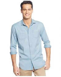 Tommy Bahama Blue Long-sleeve Twill Shirt for men
