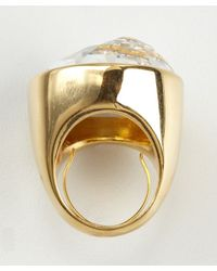 Kenneth Jay Lane | Metallic Gold Crystal Cocktail Ring | Lyst