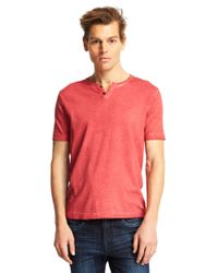 Kenneth Cole | Red Washed Henley T-Shirt for Men | Lyst