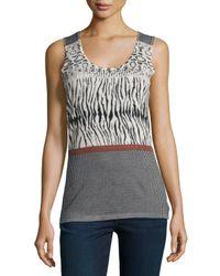 Neiman Marcus - Multicolor Animal-stripe-print Cashmere Tank - Lyst