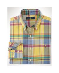 Polo Ralph Lauren - Yellow Plaid Cotton Oxford Shirt for Men - Lyst
