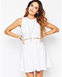 ASOS - White Lattice Waist Detail Skater Dress - Lyst