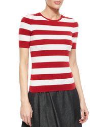 Michael Kors White Cashmere-blend Striped Crewneck Sweater