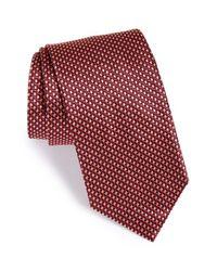Brioni | Red Geometric Print Silk Tie for Men | Lyst